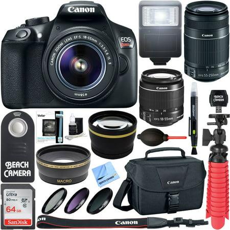 Canon EOS Rebel T6 Digital SLR Camera Wifi + 18-55mm & 55-250mm IS II Lens Kit + Accessory Bundle 64GB SDXC Memory + DSLR Photo Bag + Wide Angle Lens + 2x Telephoto Lens + Flash+Remote+Tripod