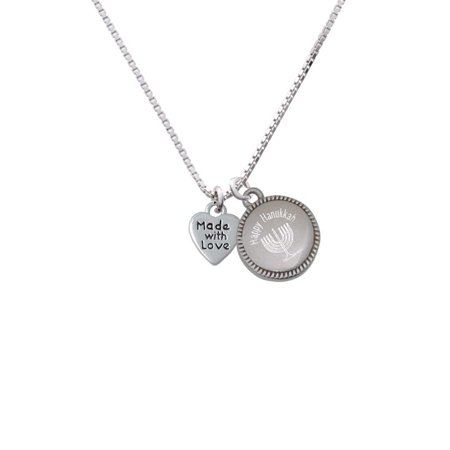 Silvertone Mini Heart with ''Made with Love'' - Happy Hanukkah Menorah (32 Mini Pendant)