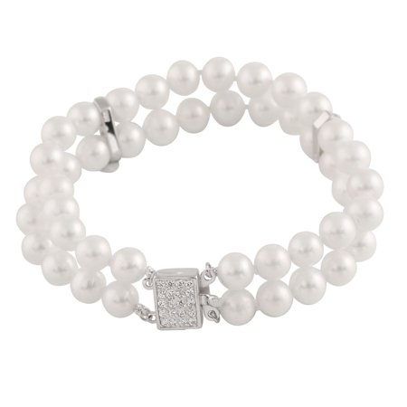 """Double Row Handpicked AAA+ 7-7.5 Button Freshwater Cultured Pearl Bracelet Sterling Silver Space Bars and Fancy Clasp 7"""""""