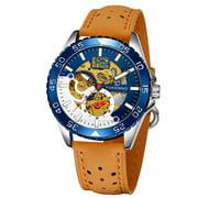 FORSINING 337 Mechanical Men Watch 3ATM Waterproof Luxury Business Luminous Male Watch Skeleton Wristwatch for Men with Leather Strap Band