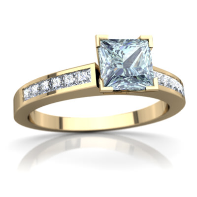 Aquamarine Channel Set Ring in 14K Yellow Gold by