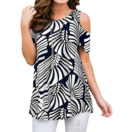 711ONLINESTORE Women Floral Print Round Neck Cold Shoulder Tunic Blouse