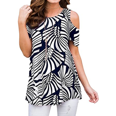Joie Womens Blouse (711ONLINESTORE Women Floral Print Round Neck Cold Shoulder Tunic Blouse )
