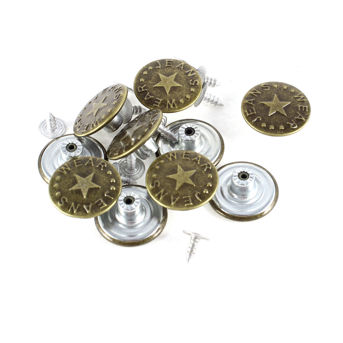 Unique Bargains 10pcs Star Prints Bronze Tone Tack Button Rivet for Jean Denim Jacket