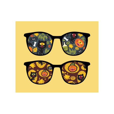 Retro Sunglasses with Halloween Reflection in It. Print Wall Art By panova - Christian Reflection Halloween