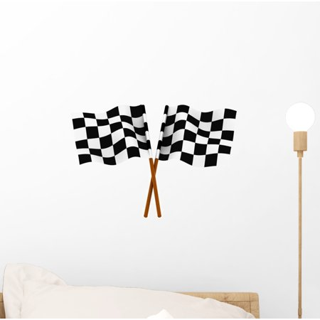 Finishing Checkered Flag Wall Decal Sticker, Wallmonkeys Peel & Stick Vinyl Graphic (12 in W x 9 in H)