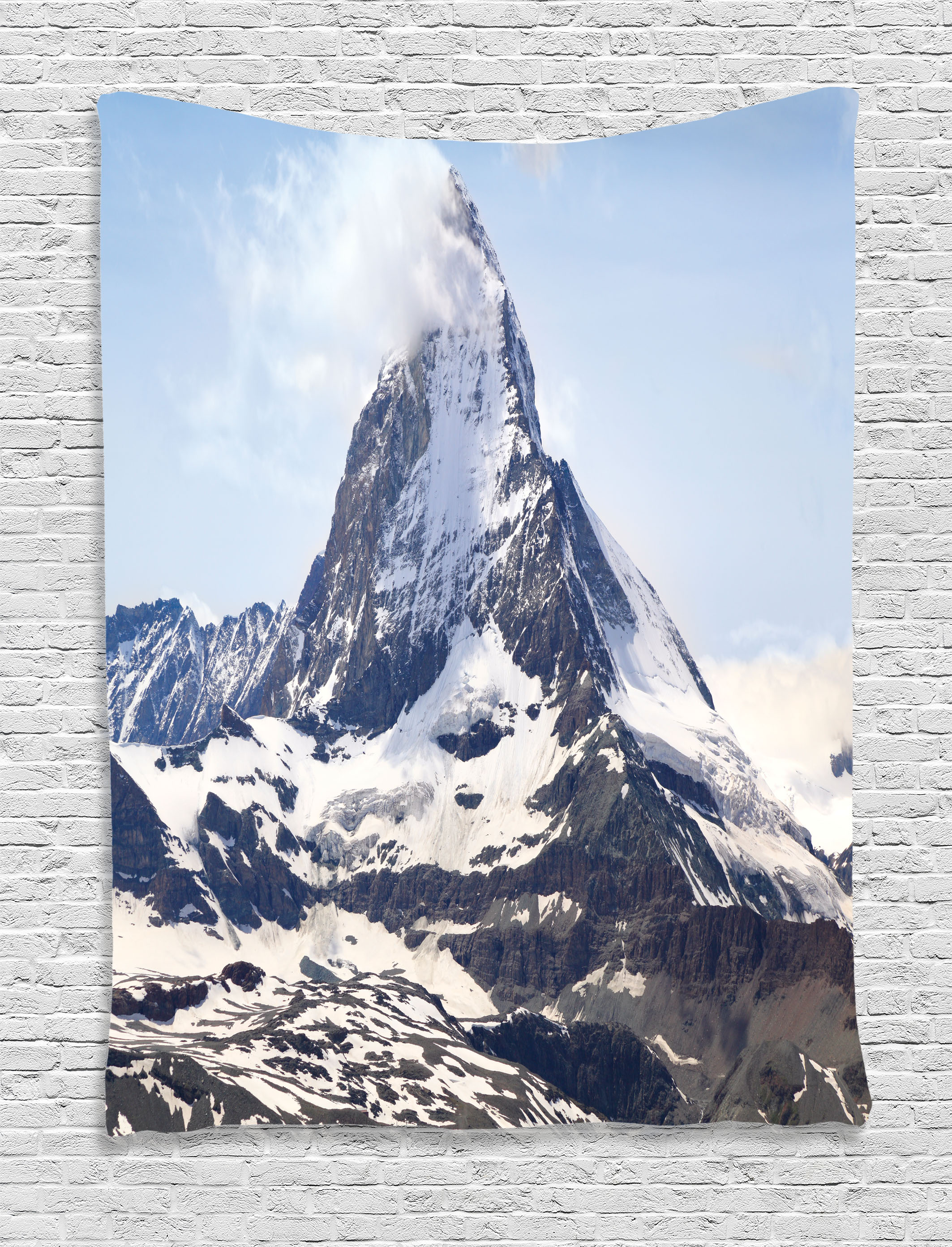 Click here to buy Farmhouse Decor Tapestry, Matterhorn Summit with Cloud Mountain Scenery Glacier Natural Beauty, Wall Hanging for Bedroom Living Room Dorm... by Kozmos.