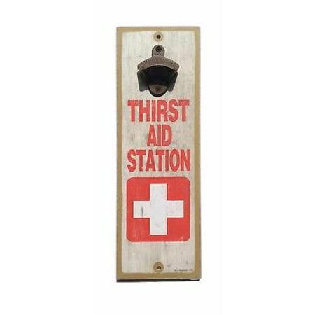 THIRST AID STATION Wood Bottle Opener Sign 5
