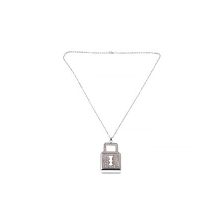 Urban Hip Hop Ice Lock Locket Bolt Crystal Rhinestone Big Pendant Style Necklace