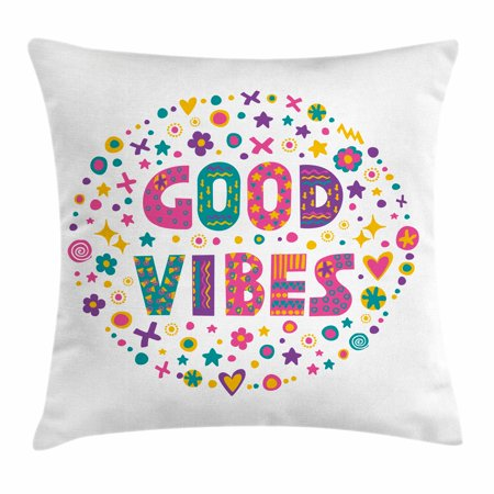 Good Vibes Throw Pillow Cushion Cover, Word Art Theme Cute Doodle Cartoon Figures Positive Hippie Inspiring Cheerful, Decorative Square Accent Pillow Case, 20 X 20 Inches, Multicolor, by Ambesonne](Cute Cartoon Themes)