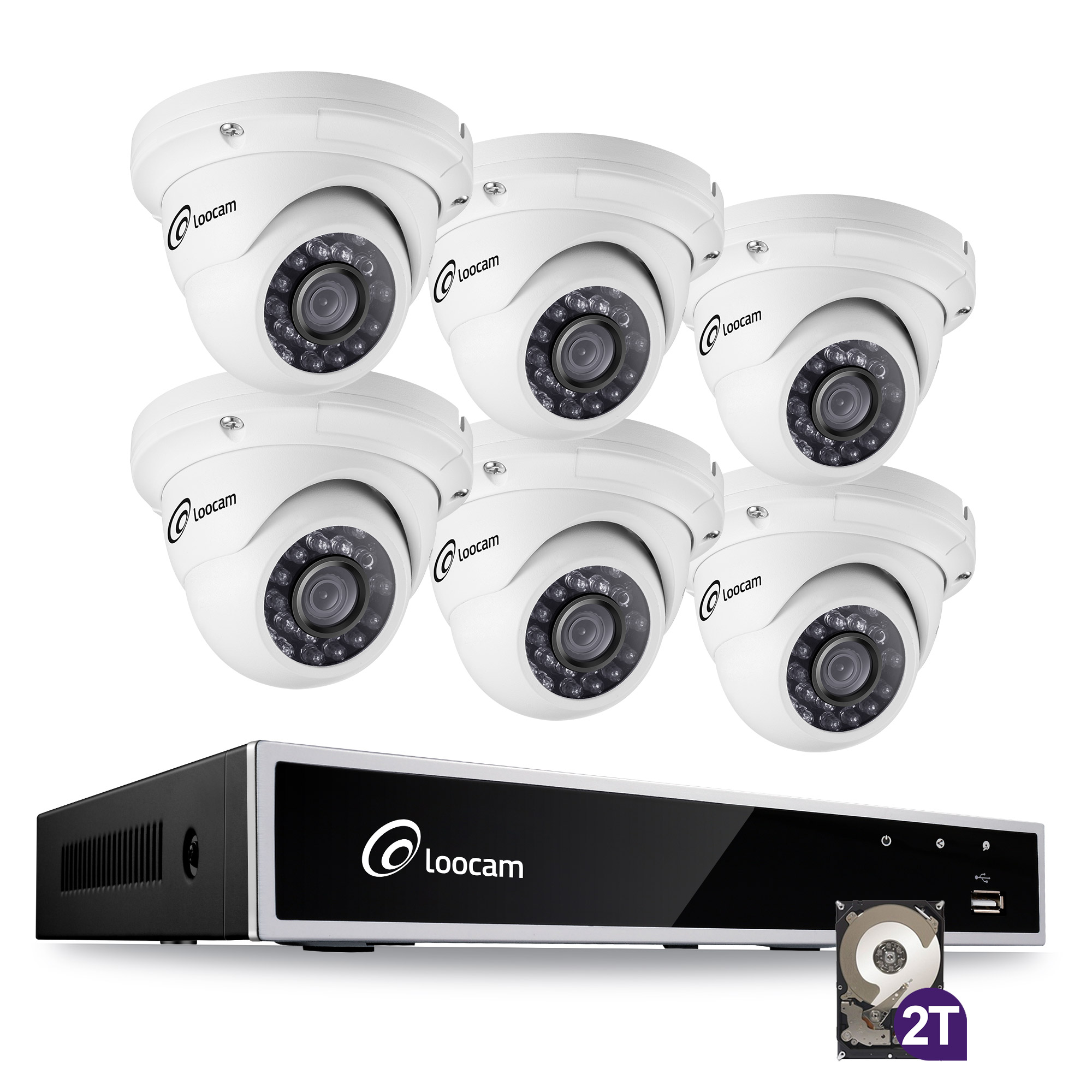Loocam 8-Channel 1080p HD 2TB DVR Surveillance Kit and 6 pcs 2MP Outdoor/Indoor IP67 Weatherproof Dome Cameras with 150ft IR Night Vision LEDs