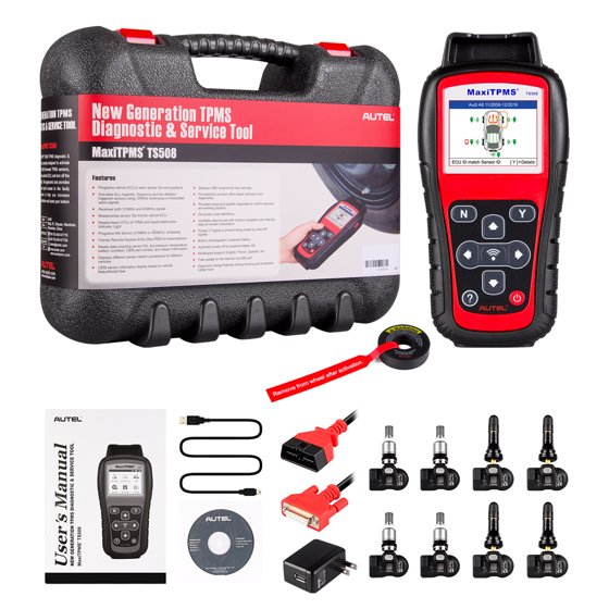Autel MaxiTPMS TS508K With 4 Pics 315MHz MX-Sensor & 4 Pics 433MHz  MX-Sensor (Interchangeable valves with press design) TPMS Programming Tool