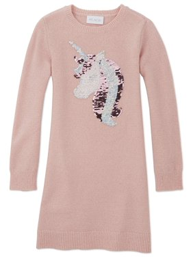 The Children's Place Girls 4-16 Metallic Unicorn Graphic Sweater Dress