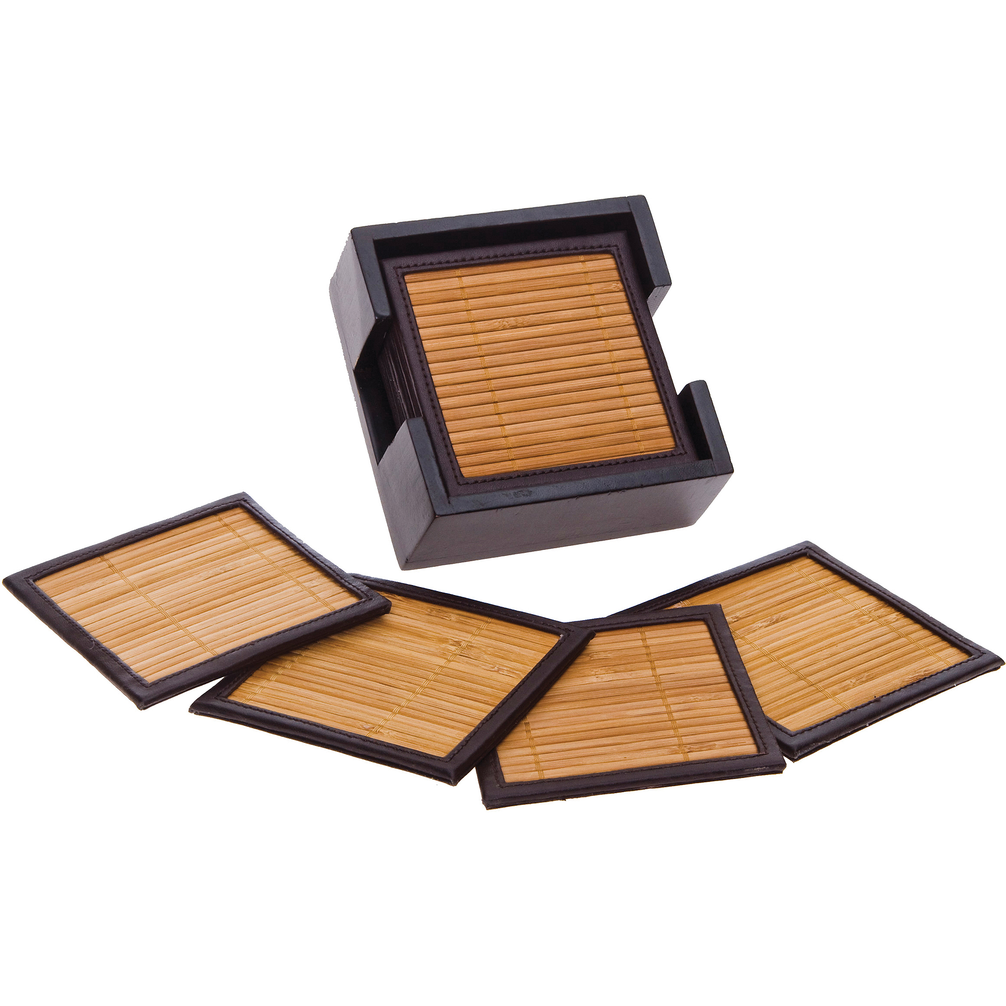 Bamboo & Faux Leather Drink Coasters with Holder