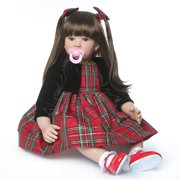"""Zimtown 24"""" Lifelike Reborn Baby doll Silicone Doll Long-Haired Black&Red Dress Girl Christmas Birthday Gift"""