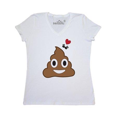 Valentine's Day Love Poop Emoji and Flies Women's V-Neck T-Shirt