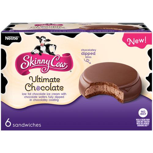 Skinny Cow Ultimate Chocolate Ice Cream Sandwiches, 2.5 fl oz, 6 ct