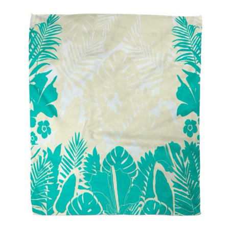 LADDKE Throw Blanket Warm Cozy Print Flannel Blue Fern Tropical Leaves Border Placards and Exotic Summer Green Foliage Comfortable Soft for Bed Sofa and Couch 58x80 (Fern Throw)