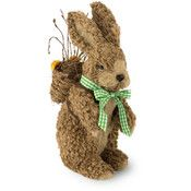 "Boston International 12"" Natural Brown Bunny With Knapsack Easter Accent"