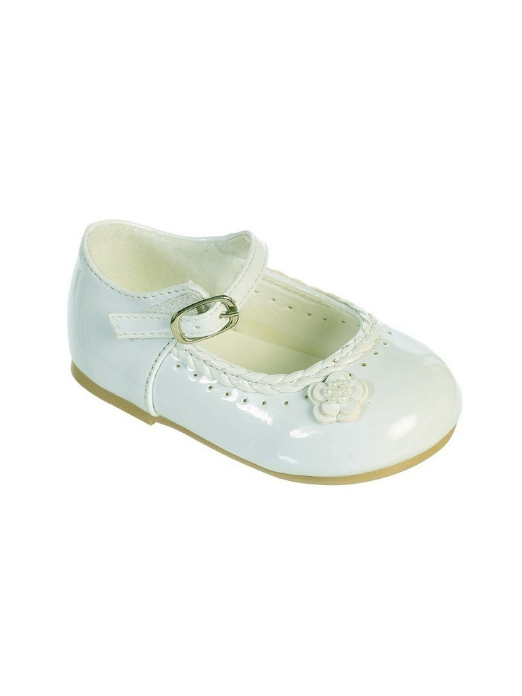 Girls Ivory Braided Edging Flower Patent Leather Mary Jane Shoes