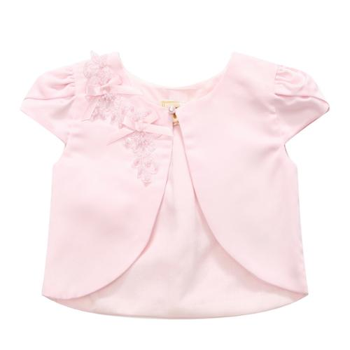 Richie House Little Girls Pink Ribbon Clustered Pearl Top 6