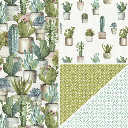 David Textiles Cactus Garden Collection 1.5 Yd. Cotton Precut Fabric ()