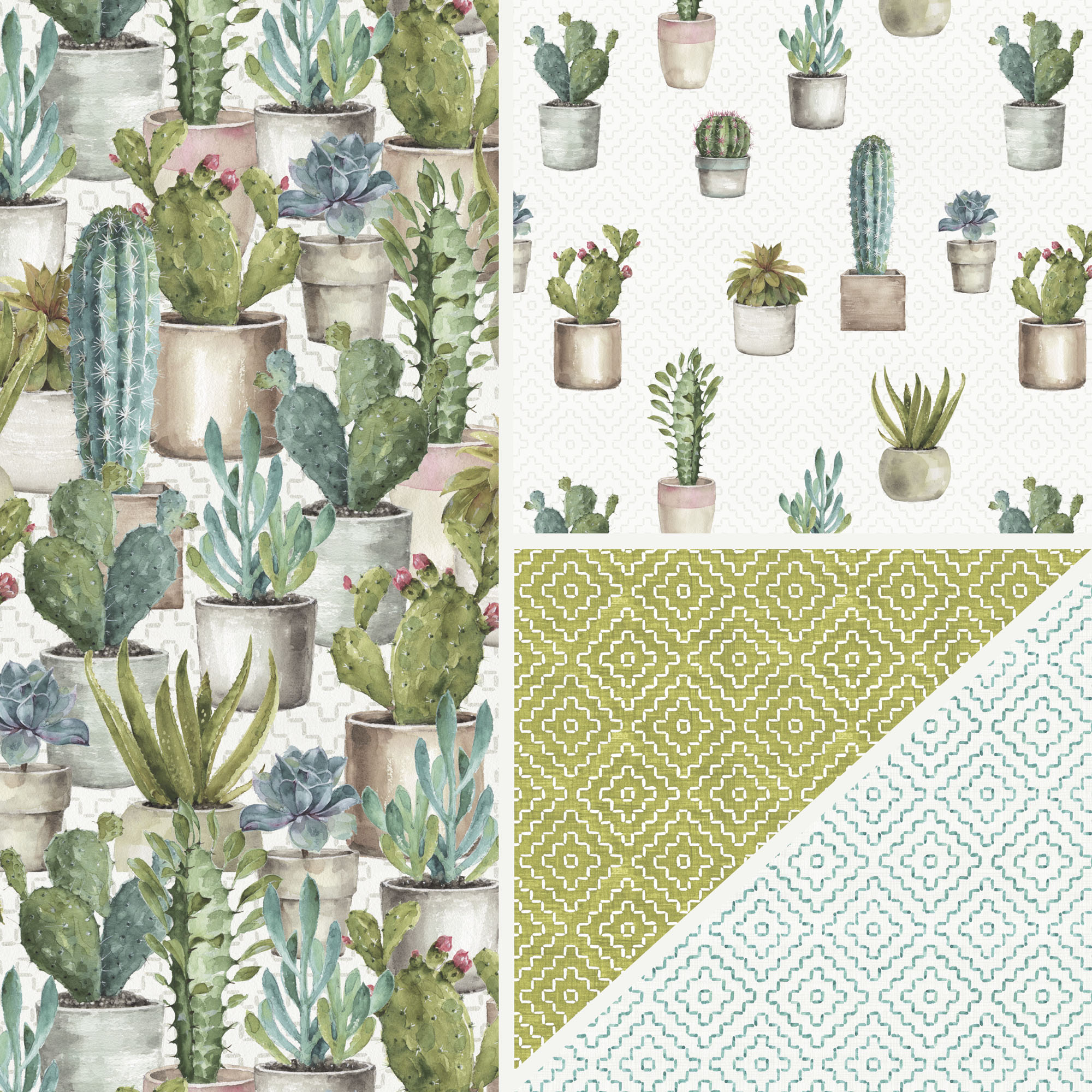 David Textiles Cotton Precut Fabric Cactus Garden Collection By Lisa Audit 1 Yd X 44 Inches