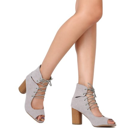New Women Qupid Cylinder-03 Faux Suede Peep Toe Lace Up Cylinder Heel (This Moment Black Suede Lace Up Heels)