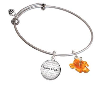 Delight Jewelry Hot Orange Hibiscus Flower Bible Verse Psalm 139