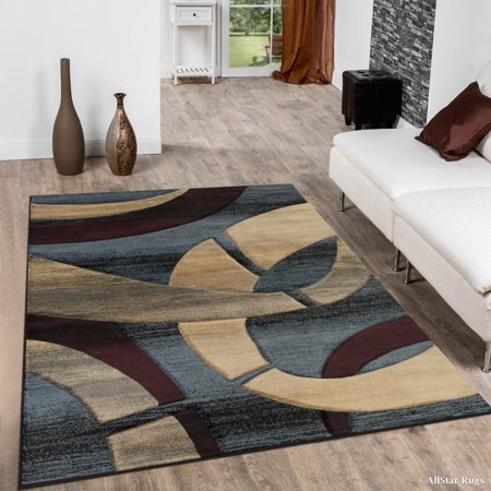 Allstar Blue Carved Circles Modern Abstract Geometric Area Rug (3