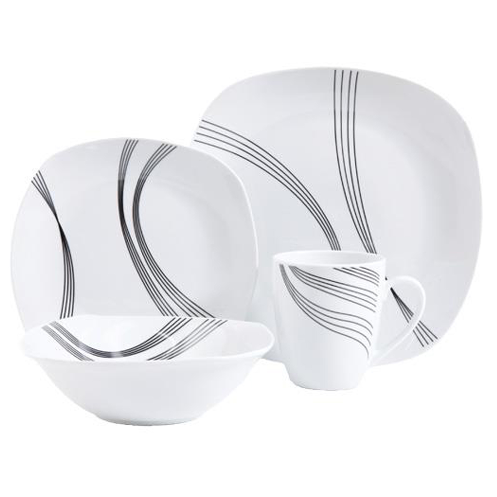 Gibson Curvation 16 Piece Soft Square Dinnerware Set in White  sc 1 st  Walmart & Gibson Curvation 16 Piece Soft Square Dinnerware Set in White ...