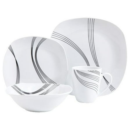 Gibson Curvation 16 Piece Soft Square Dinnerware Set in White - Dinnerware Sets Square