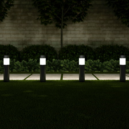 Solar Path Bollard Lights Set Of 6 15 Stainless Steel Outdoor Stake Lighting For Garden Landscape Yard Driveway Walkway By Pure Black