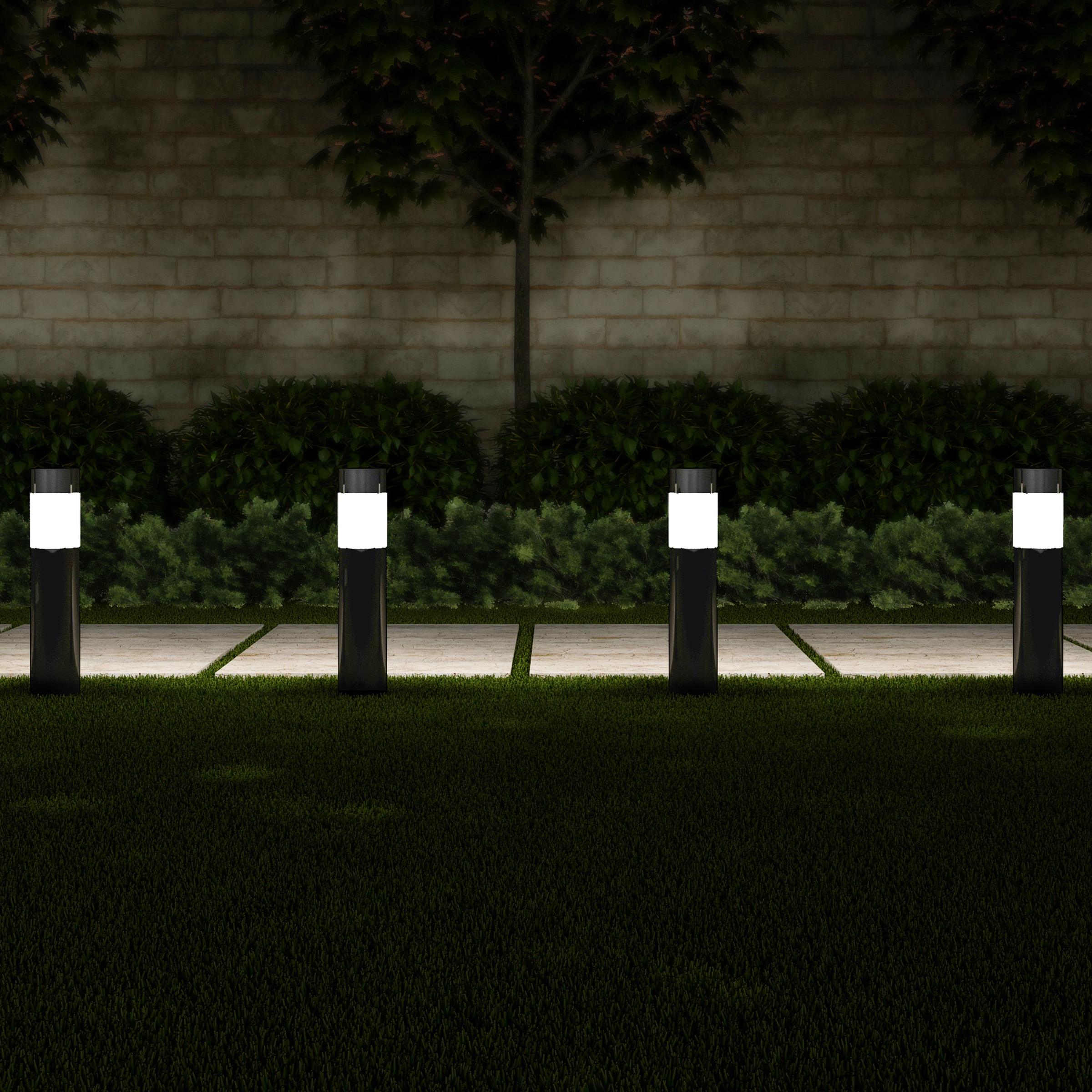 "Solar Path Bollard Lights, Set of 6- 15"" Stainless Steel Outdoor Stake Lighting for Garden, Landscape, Yard, Driveway, Walkway by Pure Garden (Black)"