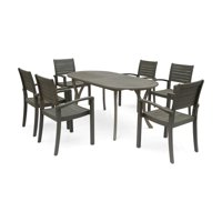 Christopher Knight Home Holloway Outdoor 6-Seater Oval Acacia Wood Dining Set by  gray
