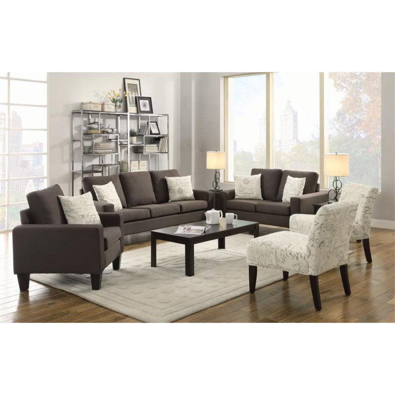 Coaster Bachman 3 Piece Linen Sofa Set in Gray