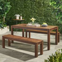 Kapernik Acacia Wood Outdoor Picnic Set, Dark Brown