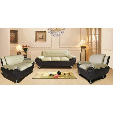 US Pride Furniture Timmy Faux leather 3 Piece Living Room Set, Camel / Black