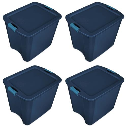 Sterilite 26 Gallon Latch and Carry Storage Tote, True Blue (4 Pack) | 14487404