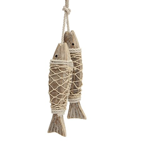Meigar 2Pcs Wooden Fish Wall Decor Hanging Fish Decorated Mediterranean Style Vintage Home Decoration,Handmade Coastal Art Design Carved