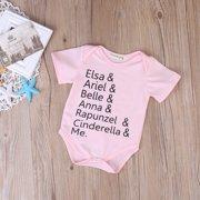 Pink Cotton Newborn Infant Baby Girls Bodysuit Romper Jumpsuit Clothes Outfits
