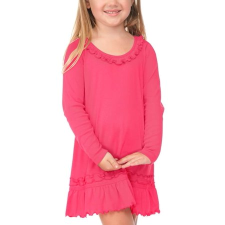 Kavio! Little Girl 3-6X Sunflower Long Sleeve Dress Hot Pink 3 - Hot Pink Girl Dresses
