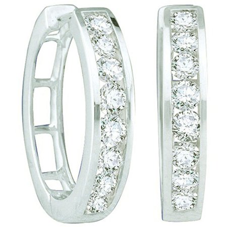 Dazzlingrock Collection 0.30 Carat (Ctw) 14K Round Cut White Diamond Ladies Huggies Hoop Earrings 1/3 CT, White Gold