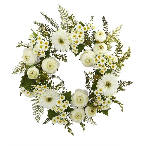 Darby Home Co 24'' Mixed Daisies and Ranunculus Wreath