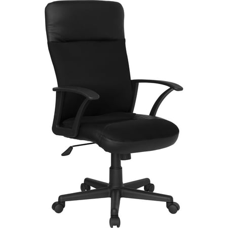 Avalon Black Leather - A Line Furniture Avalon Black Leather and Mesh Executive Adjustable Swivel Office Chair