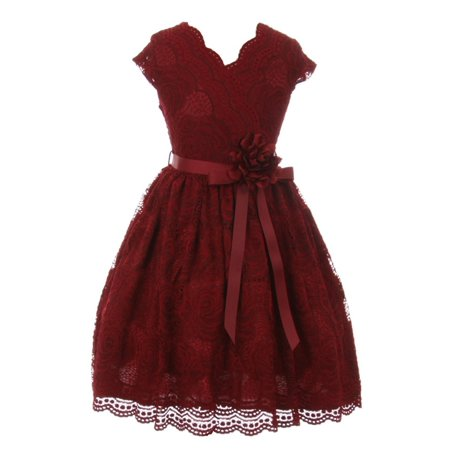 Girls Special Occasion Dresses Cheap (Girls Burgundy Flower Border Stretch Lace Special Occasion)