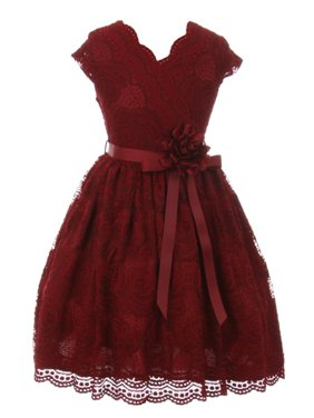 7a83907e50c2 Product Image Girls Burgundy Flower Border Stretch Lace Special Occasion  Dress