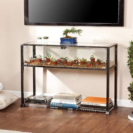Southern Enterprises Terrarium Display Media Console, Black with Silver Distressed Finish ()