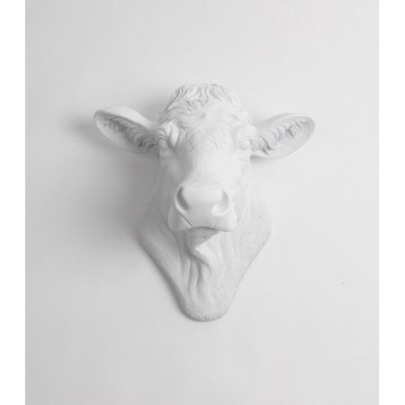 White Faux Taxidermy Cow Head Wall Mount