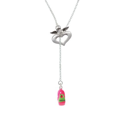 Resin Hot Pink Love Snail   Guardian Angel Lariat Necklace